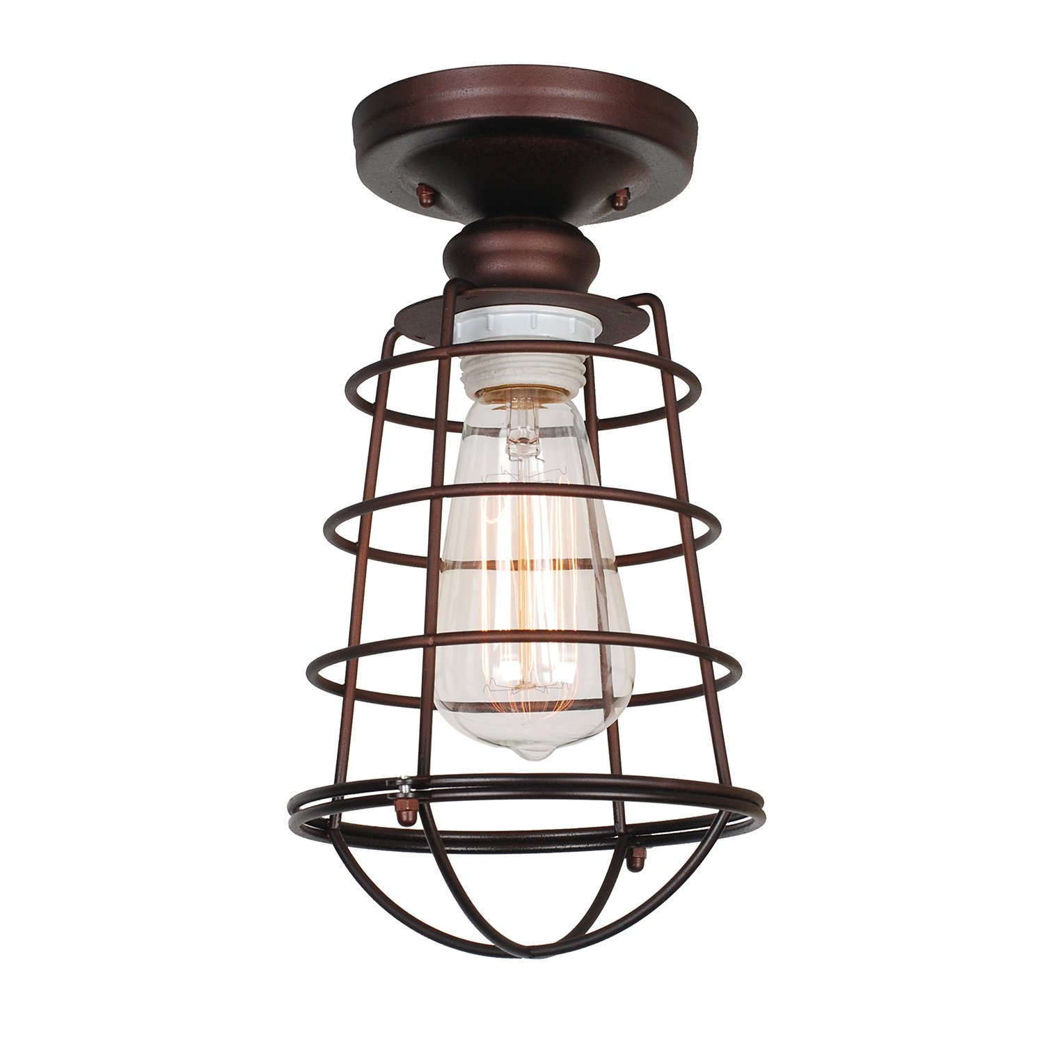 grid bulb metallic ceiling of light contemporary flush fresh mount bronze aged lights industrial