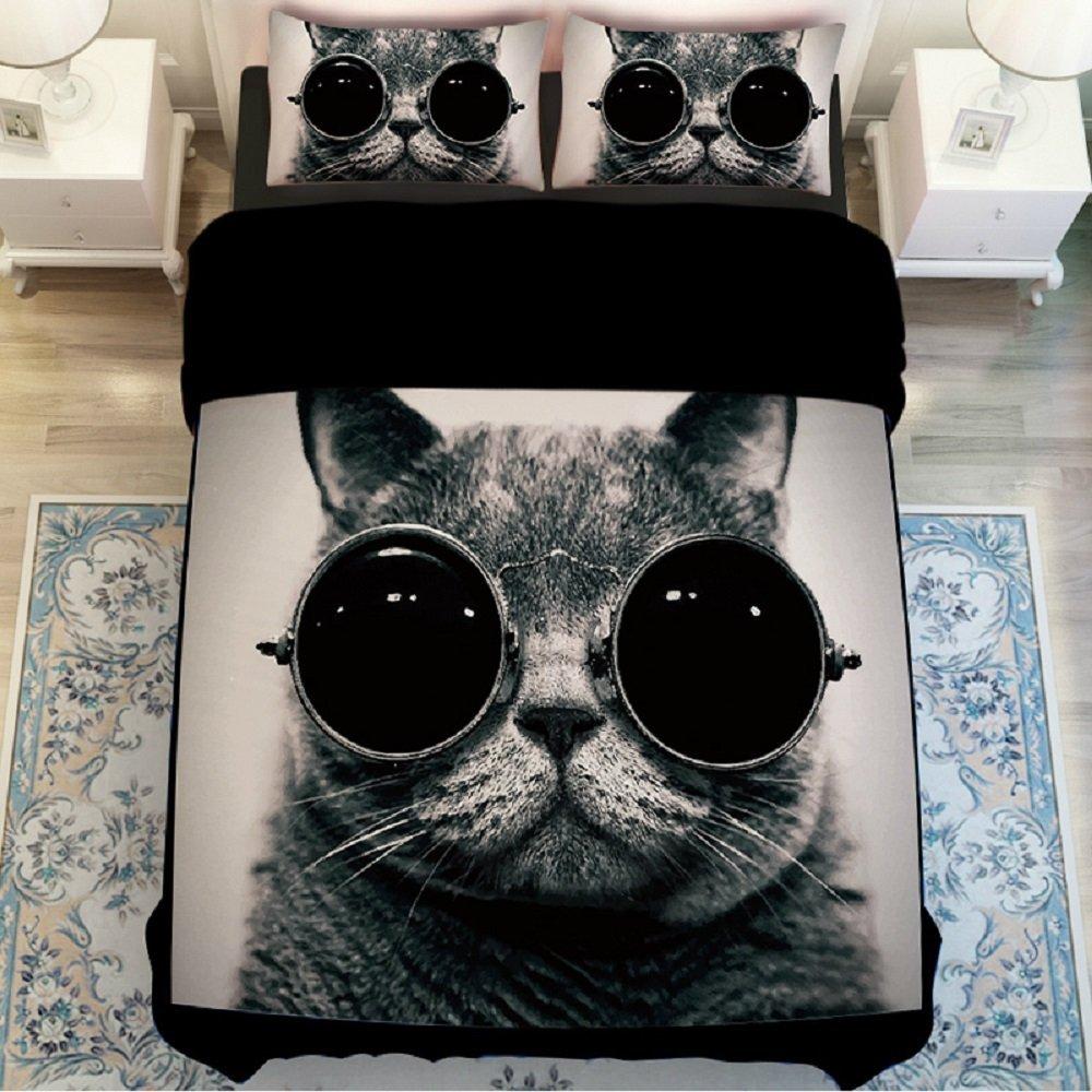 MZPRIDE 3d Cat Print Bedding Sets Unique 3d Black Glasses Cat Bed Cover Set Queen