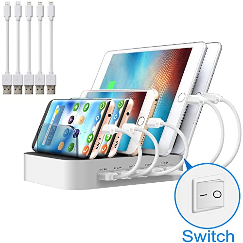 Multi Device USB Charging Station JZBRAIN 5 Port Tablet Charging Dock with Switch for iPhone Apple Cell phone and Android Devices (White, 3 Lightning & 2 Micro Short Cables Included)