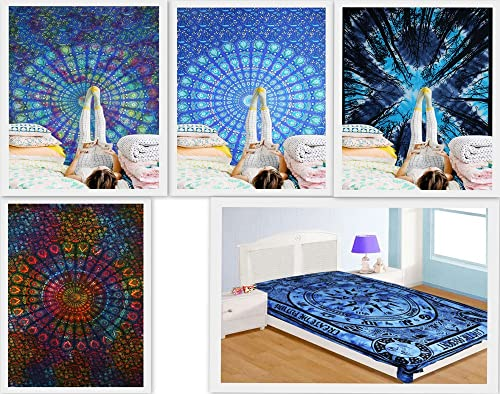 FUTURE HANDMADE Wholesale Pack of 5 Twin Tapestries Indian Handmade Mandala Tie Dye Tapestry Forest Tapestry Bohemian Tapestries Wall Hanging Beach Towels 100 Cotton Home Decor Bedspread Pack 2