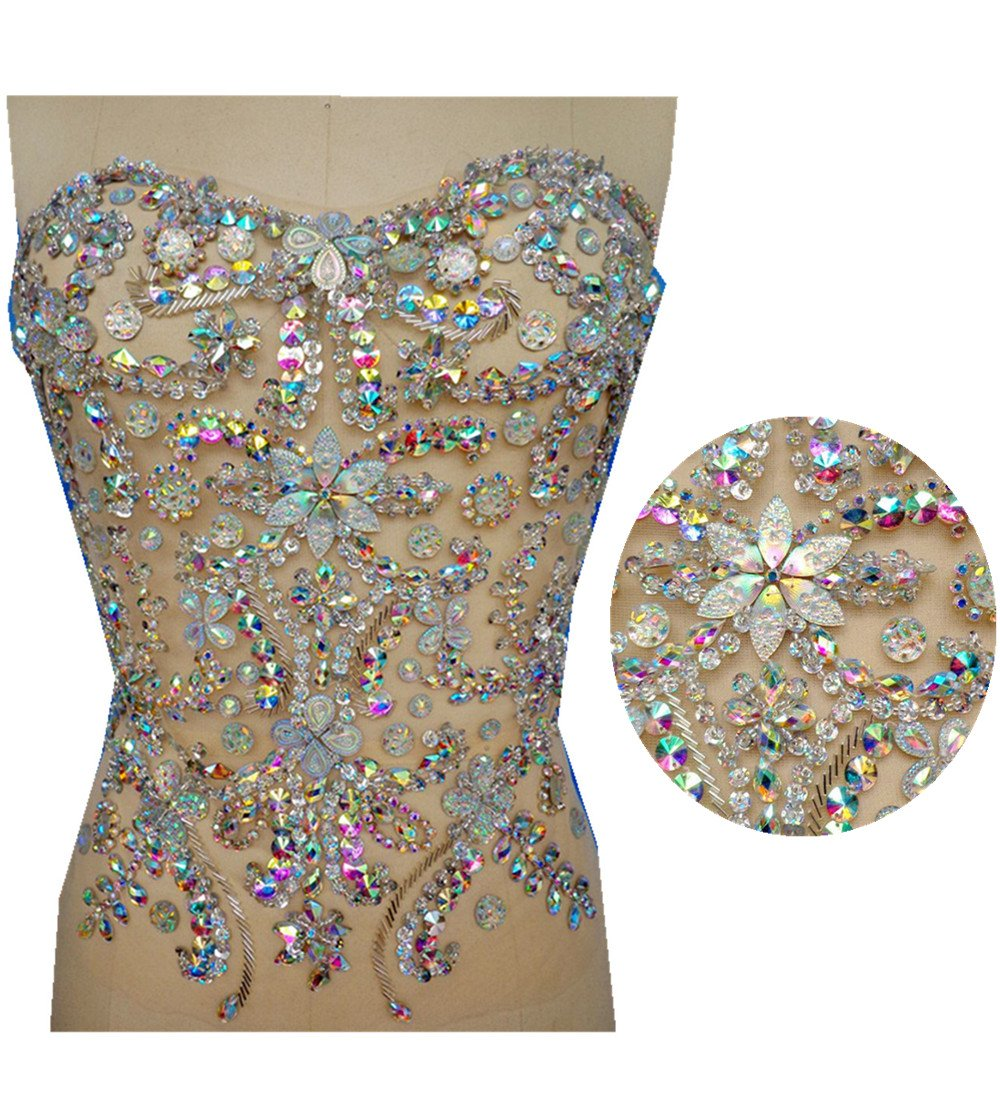 mesh handmade crystal patches sew on trim Rhinestones applique with stones sequins beads 32x32cm (AB Colour) by Wvbt.n