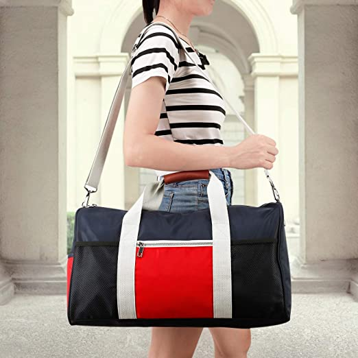 Gym Bag Duffel Bag for Women Men,Travel Bag for Sports,Genuine Leather Handle