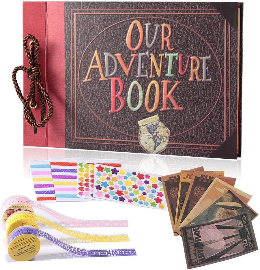 YIHAO Adventure Book Album de Fotos,Libro de Aventura con Accesoro Maravilloso, Our Adventure Scrapbooking DIY Vintage Aniversario Boda Amigos Novios Bebé ,Regalo único para el cumpleaños
