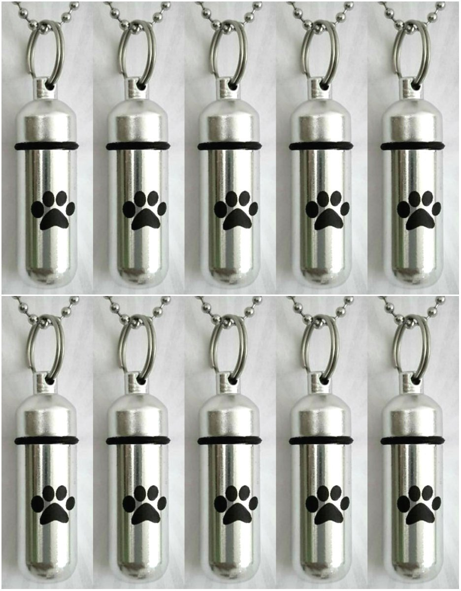 Pasco Specialty Product Memorial Set of Ten Pet/Dog/Cat - Cremation URN Necklaces with Large Laser Engraved Paws - Includes 10 Velvet Pouches, 10 Ball-Chains & Fill Kit