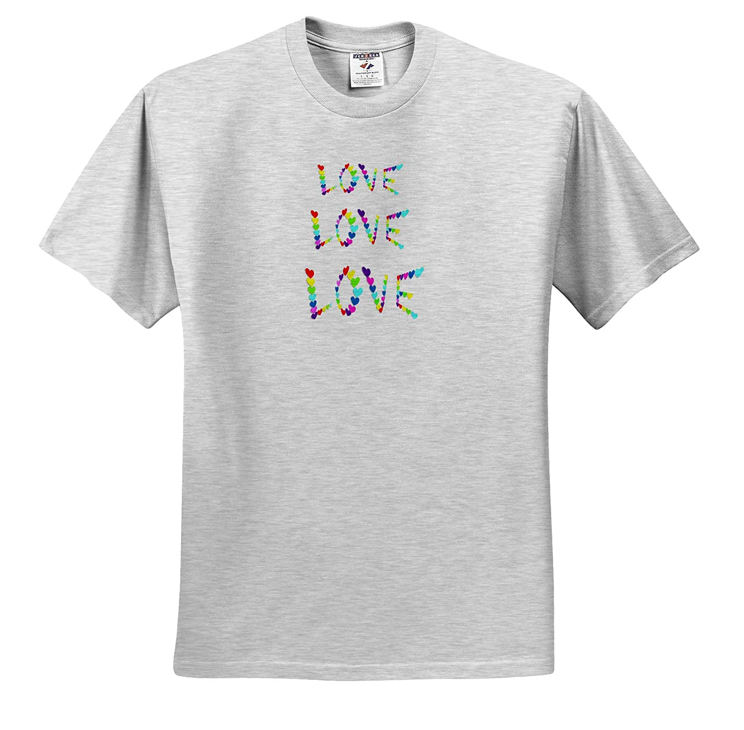 ts/_317104 Adult T-Shirt XL 3dRose Lens Art by Florene Image of Hearts Make Up The Three Words of Love All Things Aqua