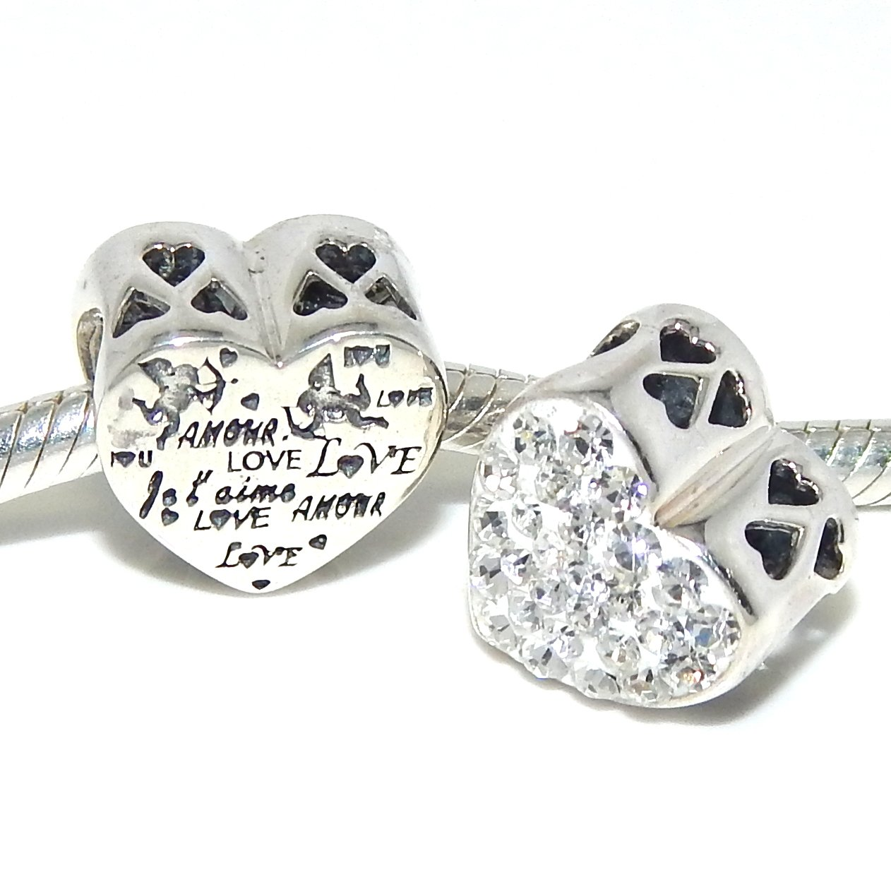 Pro Jewelry .925 Sterling Silver ''Amour Love w/ White Crystals'' Heart Charm Bead 4198