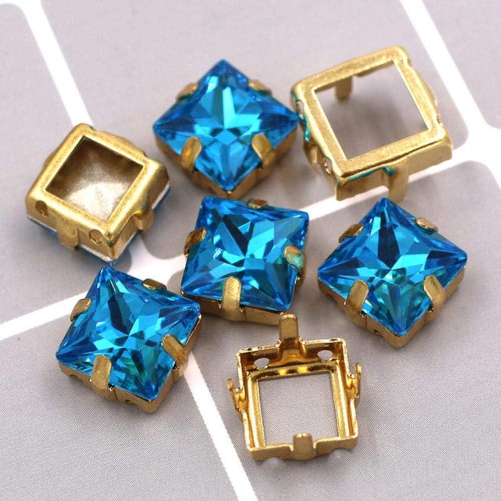 PENVEAT Recién llegados Cristal de Cristal K9 Forma Cuadrada pedrería con Base Dorada Garras Huecas para decoración/Vestido de Boda, Mar Azul, 12 mm