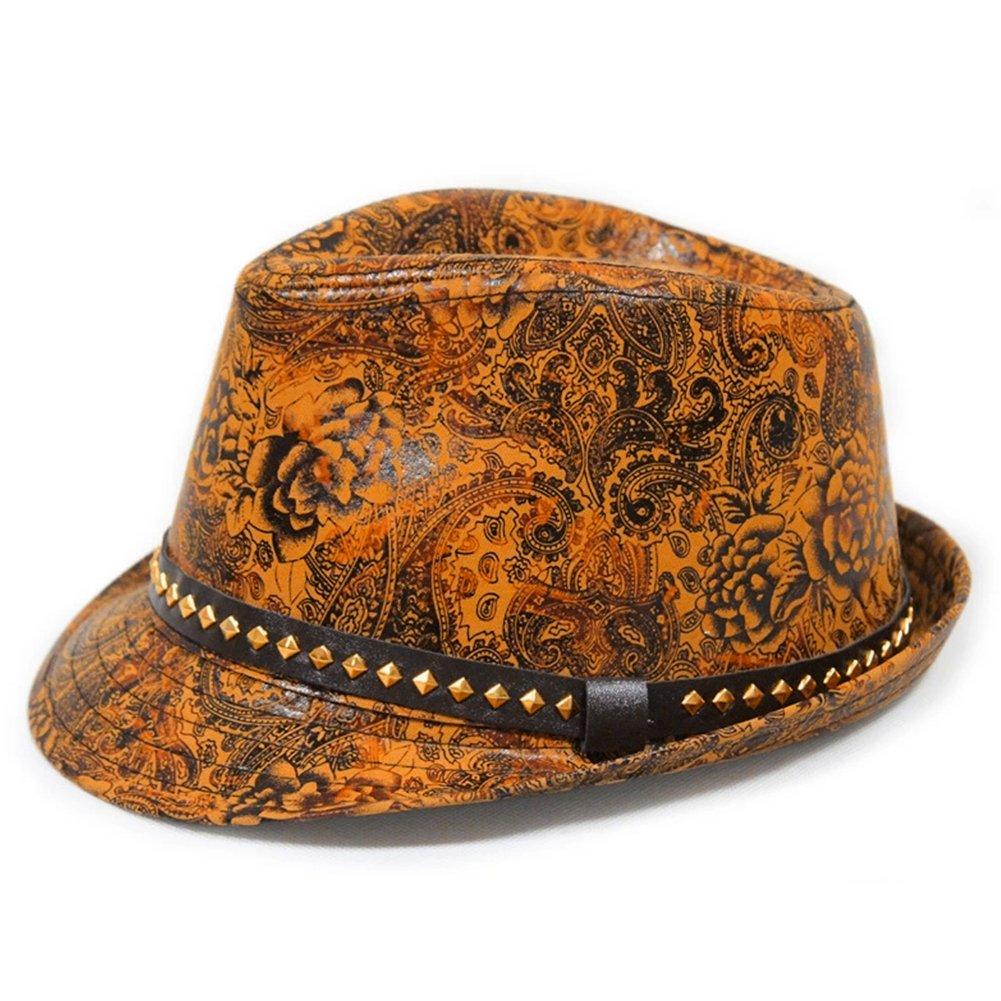 LOCOMO Paisley PU Leather Fedora Short Upturn Brim Hat Cap Cuban FFH247YEL