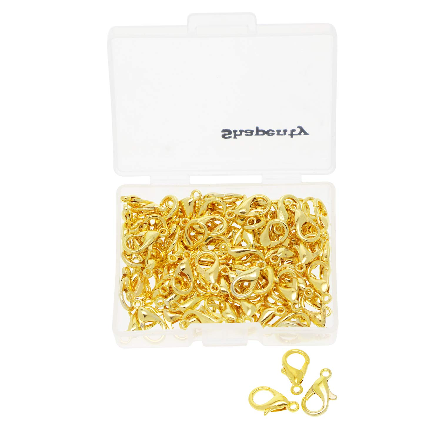 Shapenty Small Metal Alloy Lobster Claw Clasps Clip DIY Necklace Jewelry Finding Making Accessories Fastener Hook, 12mmx6mm, 100PCS (Gold)