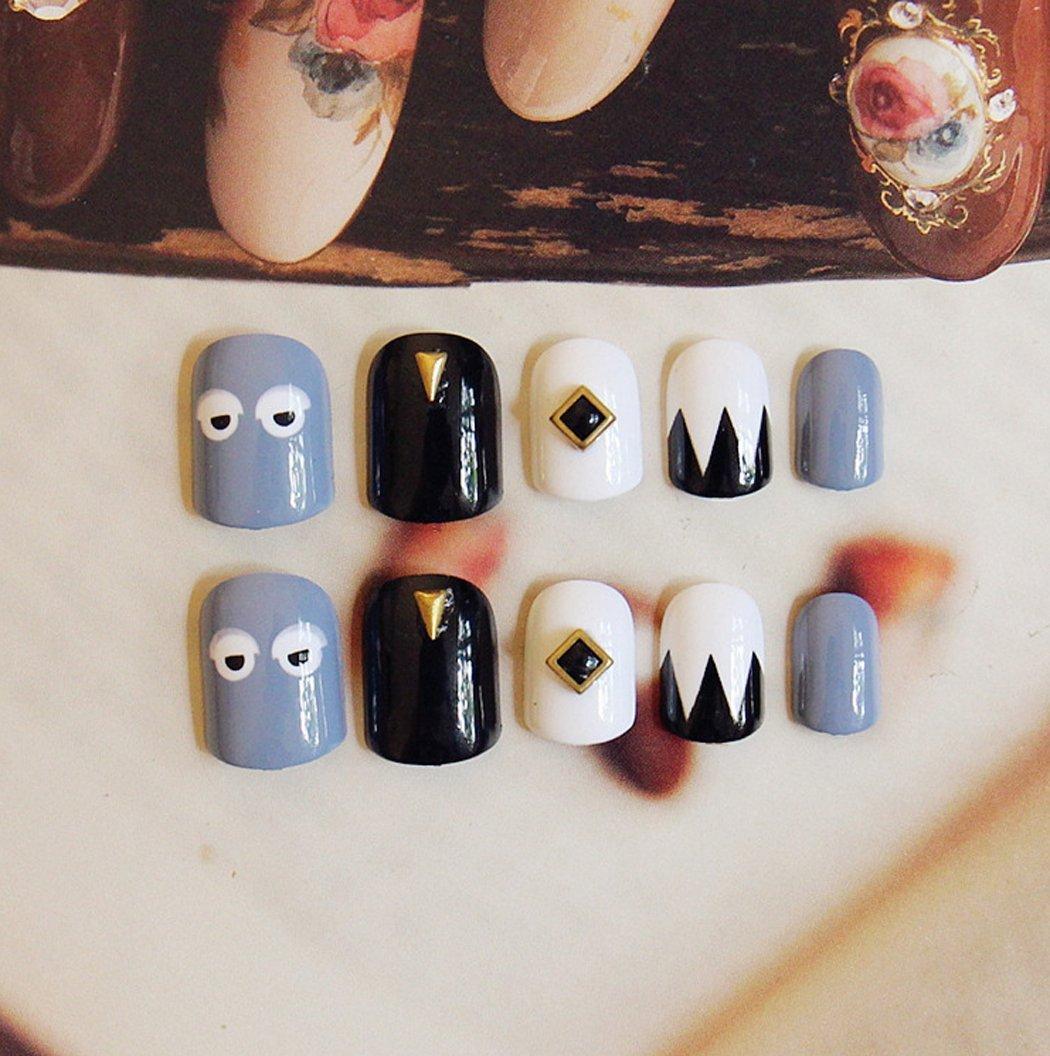 aukmla uñas postizas con pegamento Sakura Artificial uñas Oval Cruz Squint uñas postizas de colores para las mujeres y las niñas: Amazon.es: Belleza