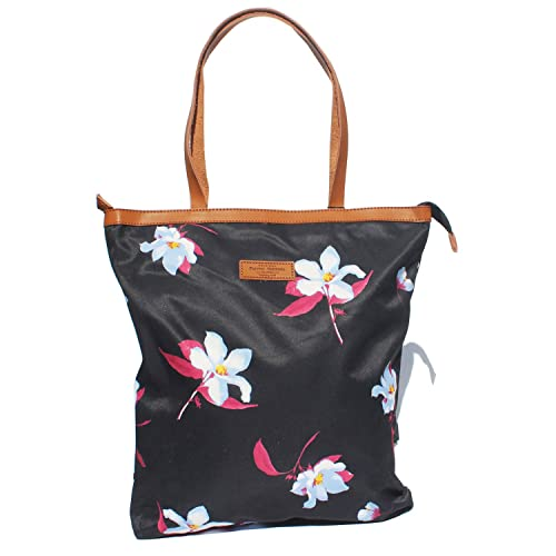 Amazon.com  Women Fashion Large Tote Shoulder Handbag Original Floral Leaf  Water Resistance Lightweight Tote Bag (Black - White flower)  Shoes 8411d5edf6b06