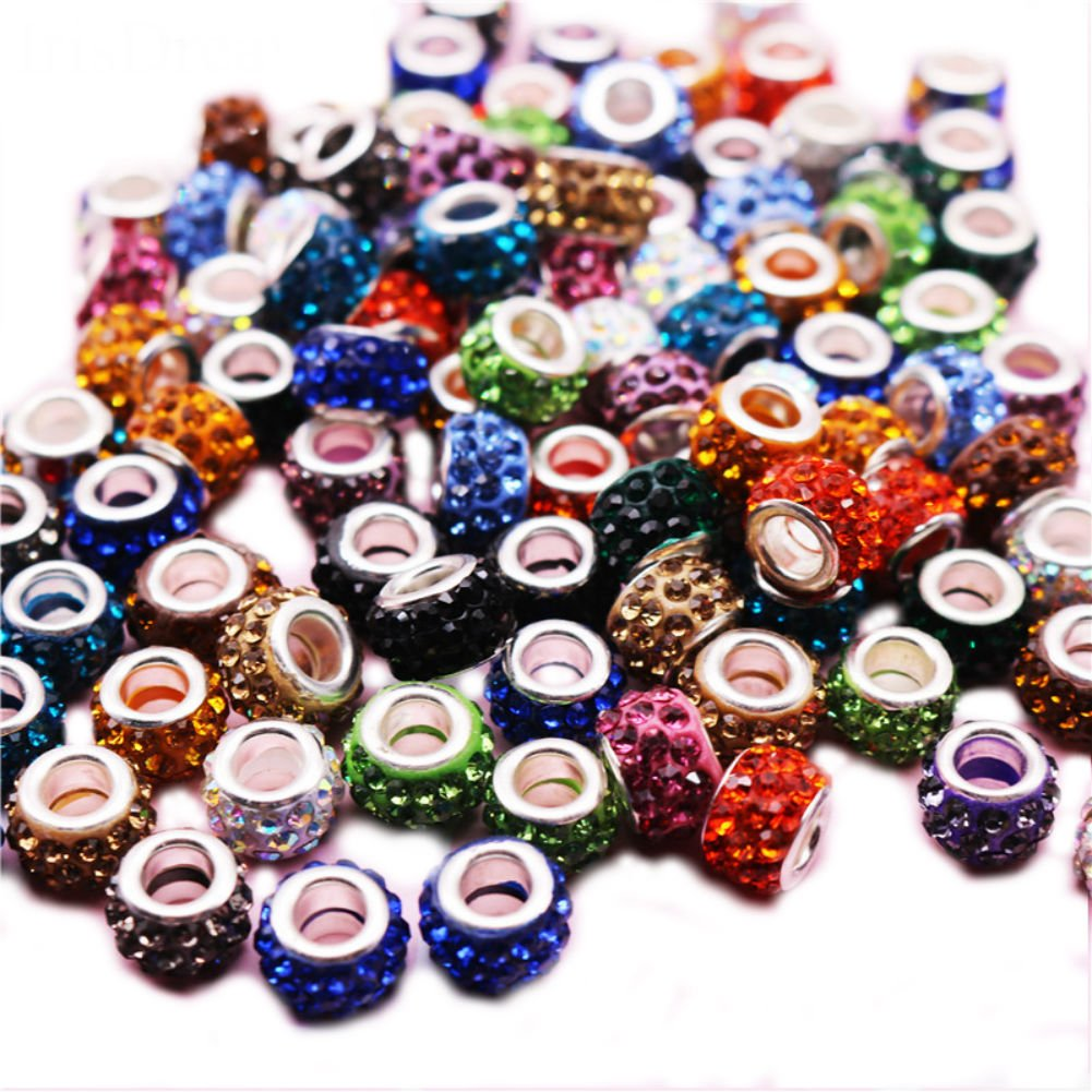 Pack of 10 Random Mix Murano Style Pave CZ beads for Sister Mum Friend gift bracelets will fit Pandora and Biagi charms VUNj8WIPl