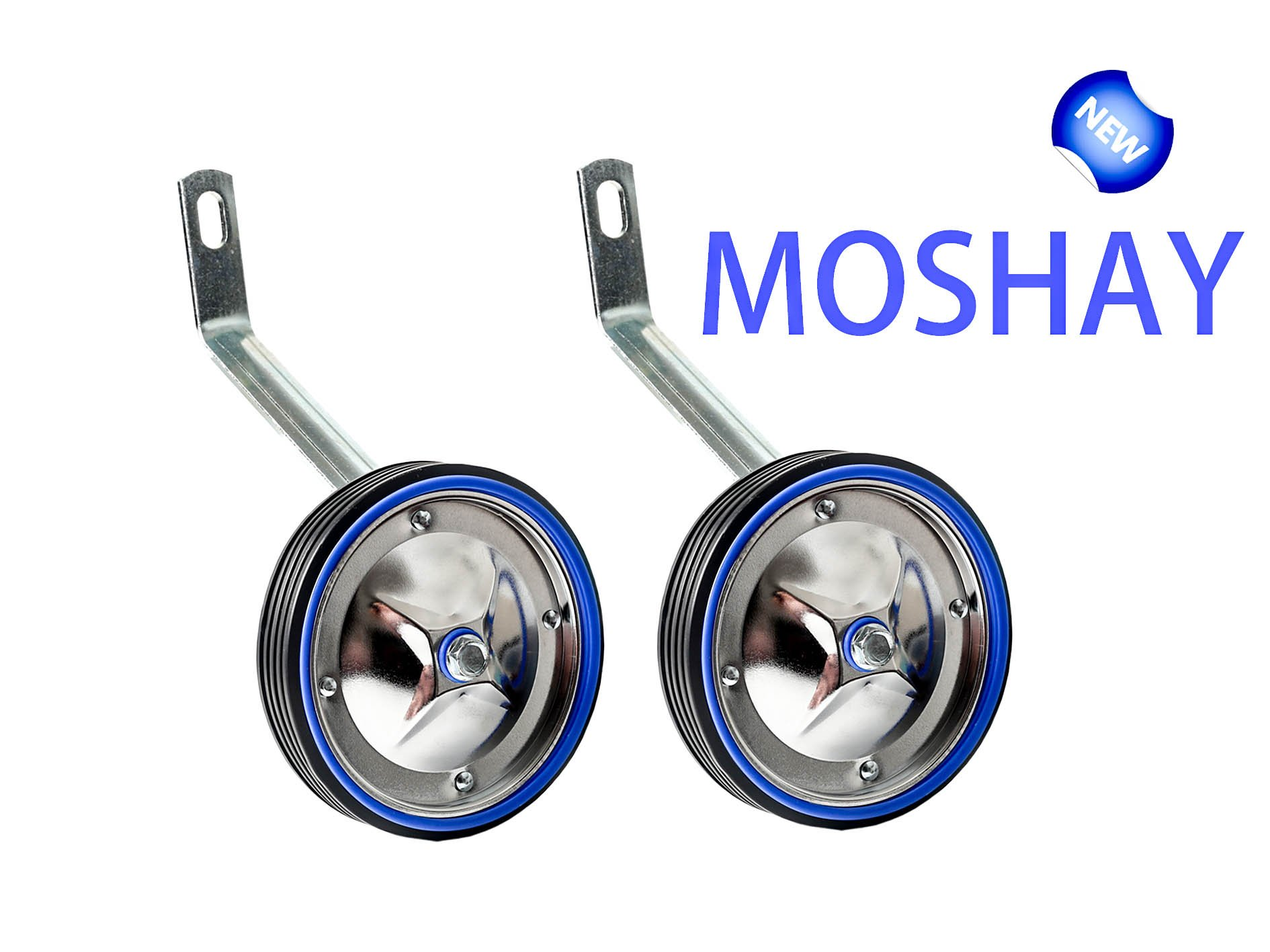 MOSHAY NOCTILUCENT BIKE TRAINER STABILISER SET 16 18 20 22 24Inch TRAINING WHEELS (A-green (BLUE)