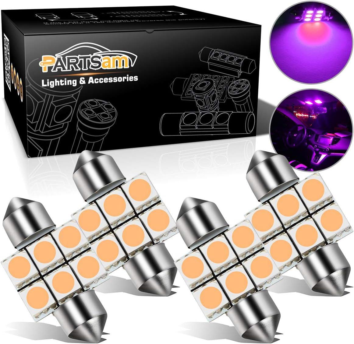 Partsam 4PCS 31mm Festoon Interior Dome Map LED Light Lamp Bulbs 3021 3022 DE3175