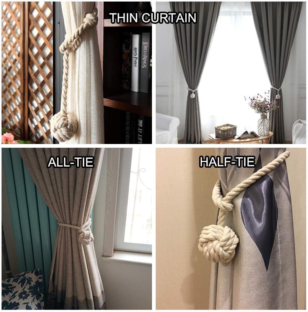 Yacolife 4 Pack Curtain Tiebacks,Handmade Natural Cotton Curtain Rope Tieback,Decorative Rope Holdbacks//Holder for Window Sheer and Blackout Panels,Grey