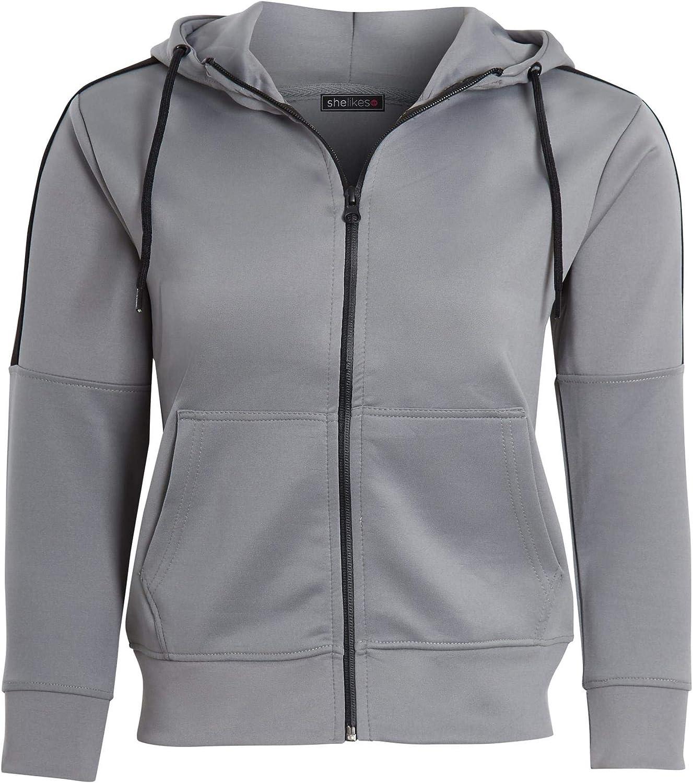 shelikes Kids Girls Boys Panel Tracksuit Hooded Hoodie Bottom Jogging Full Zip Suit