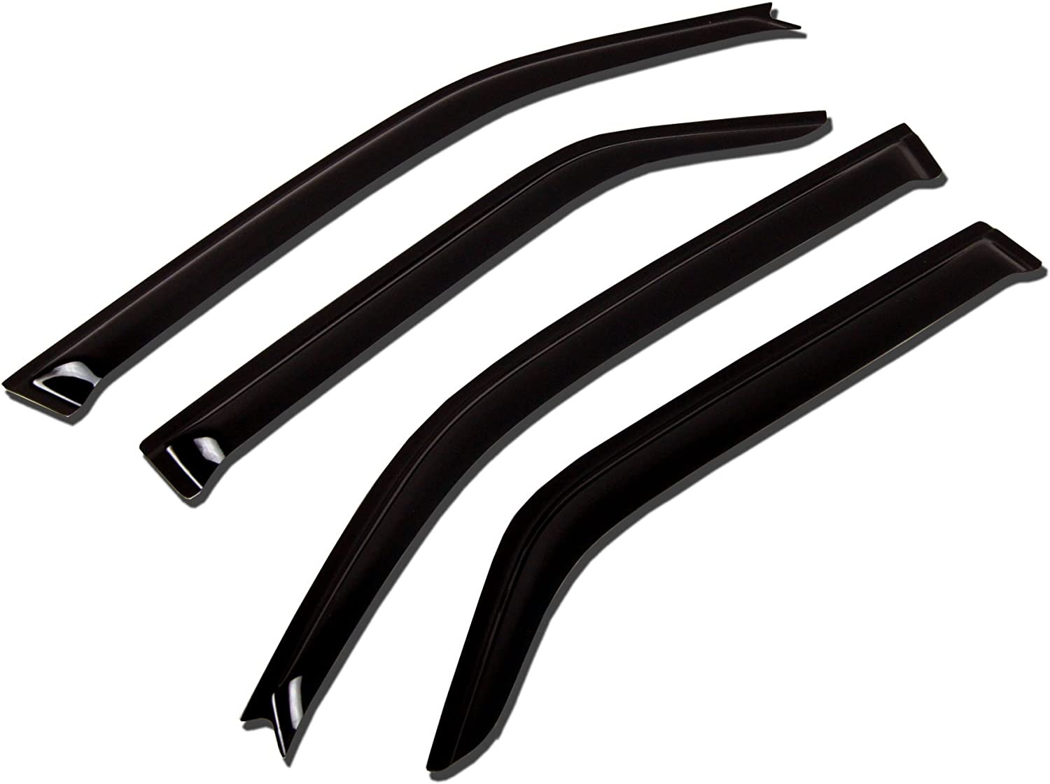 TuningPros WSV-014 Sunroof Moonroof and Out-Side Mount Window Visor Deflector Rain Guard Dark Smoke 5-pc Set