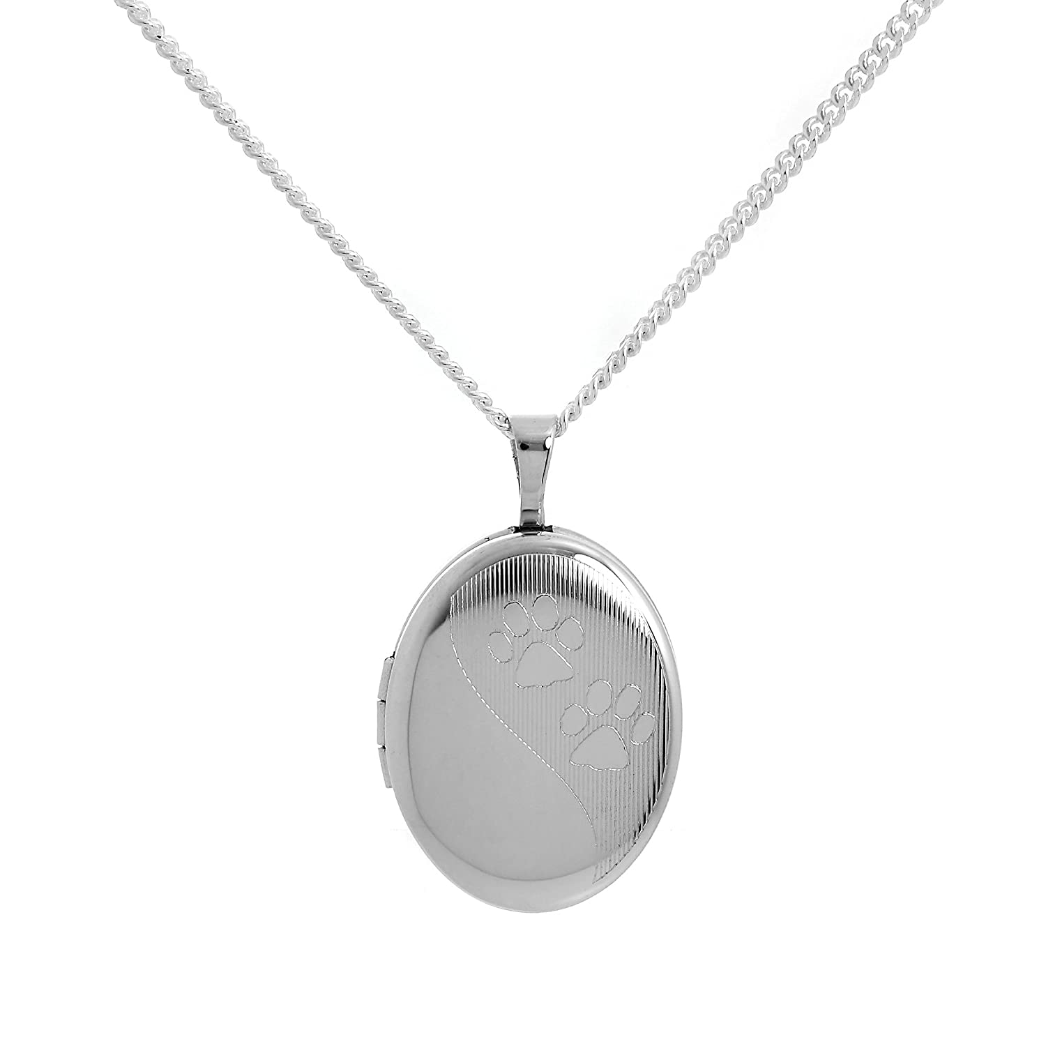 Sterling Silver Animal Paw Print Oval Locket on Chain jewellerybox DCY-048-16
