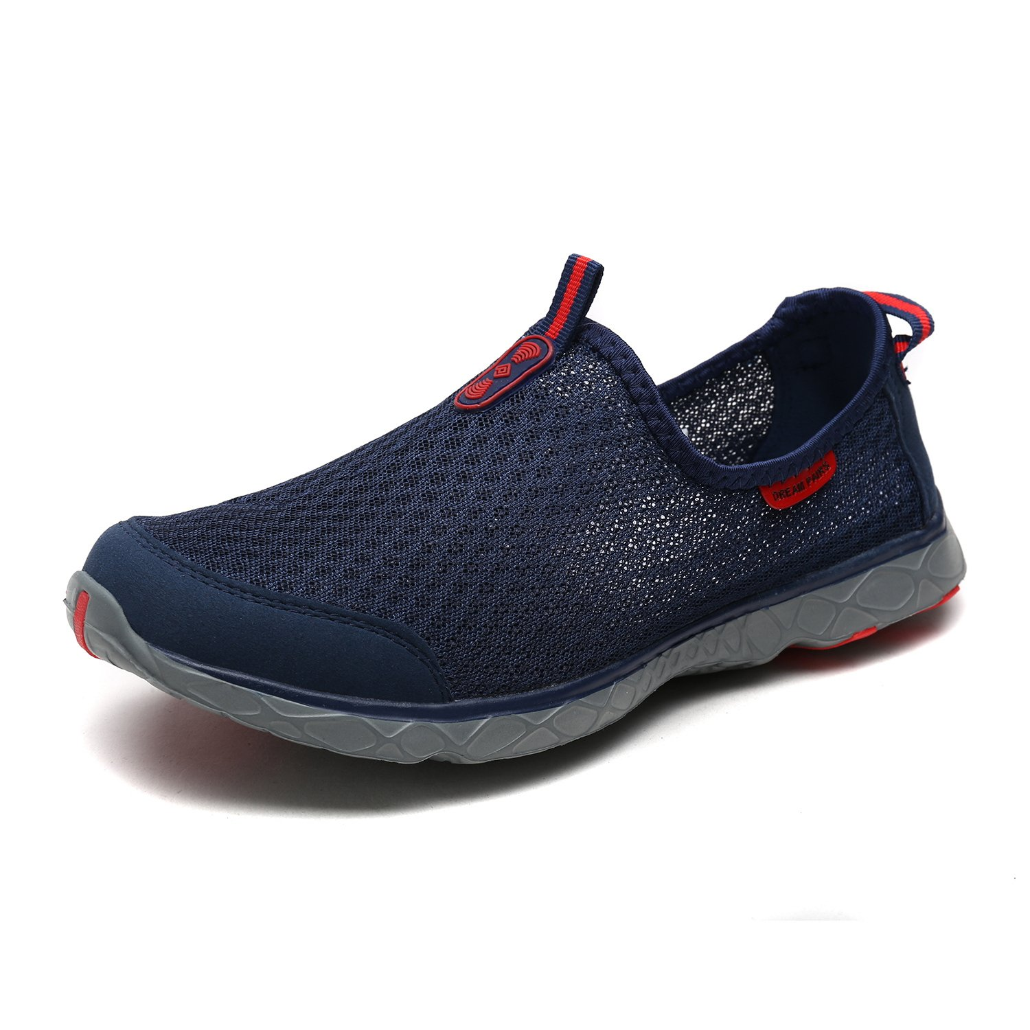 DREAM PAIRS Men's 1610043-M Navy Red Quick-Dry Slip-on Water Shoes for Beach Pool Walking - 8 M US