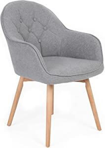 FCQuality Modern Living Dining Room Small Accent Arm Chair Set of 2 Button Tufted Desk Chair Linen Fabric Upholstered Guest Chair with Solid Wooden Legs (Grey + Grey)