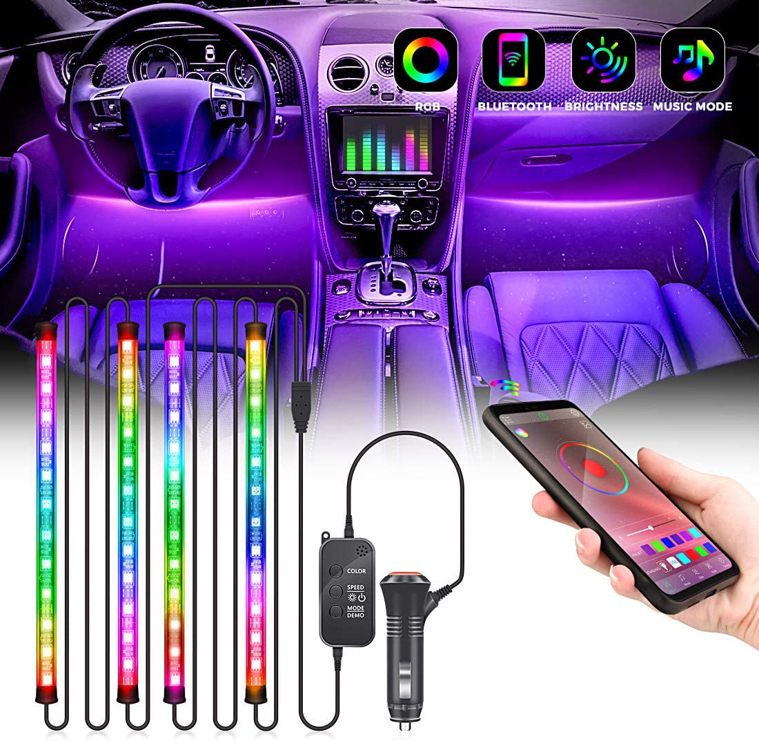 Arbusb Led lights for car,4pcs 48 LED APP Controller Car Led Lights,Waterproof Multicolor Music Under Dash Lighting Kits for iPhone Android Smart Phone Car Charger Included DC12V