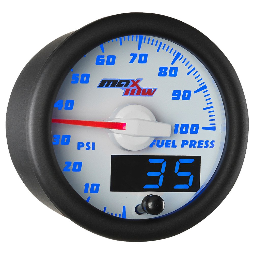 MaxTow Double Vision 100 PSI Fuel Pressure Gauge Kit - Includes Electronic Sensor - White Gauge Face - Blue LED Illuminated Dial - Analog & Digital Readouts - for Trucks - 2-1/16'' 52mm