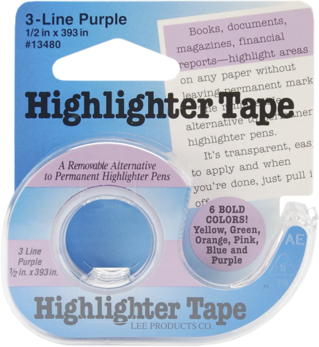 Lee 3-Line Removable Wide Highlighter Note Tape 1//2 X 393 in Pink