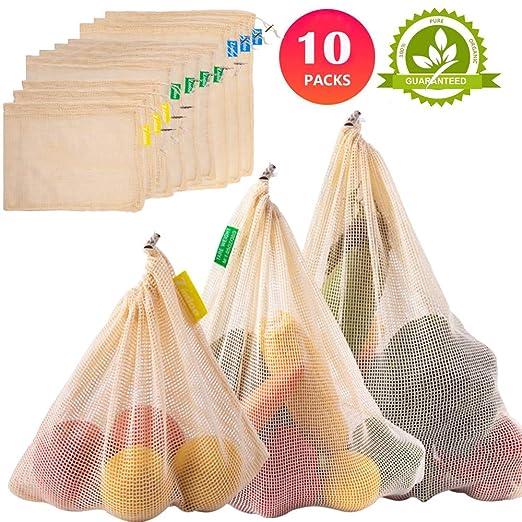 Zindoo Bolsa Reutilizable Algodon, Alternativa al plástico, Lavable y Transpirable Bolsa de Malla para Almacenamiento Fruta Verduras Juguetes 10PCS ...
