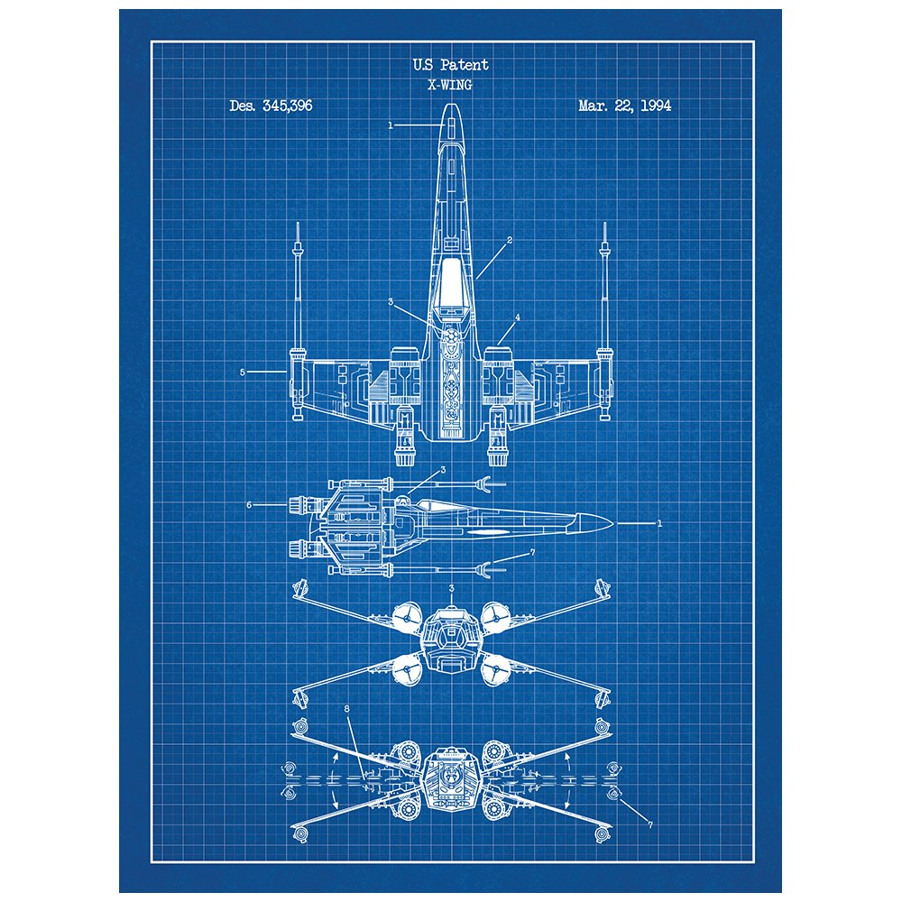 Amazon star wars assorted design patent art poster 18 x 24 inch amazon star wars assorted design patent art poster 18 x 24 inch silk screen prints star wars vehicles x wing b blue grid posters prints malvernweather Gallery