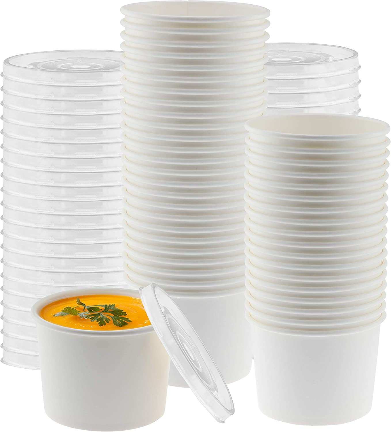 NYHI Paper Soup Storage Containers With Lids | 16 Ounce Insulated Take Out Disposable Food Storage Container Cups For Hot & Cold Foods | Eco Friendly To Go Soup Bowls With Plastic Lid | 50 Pack