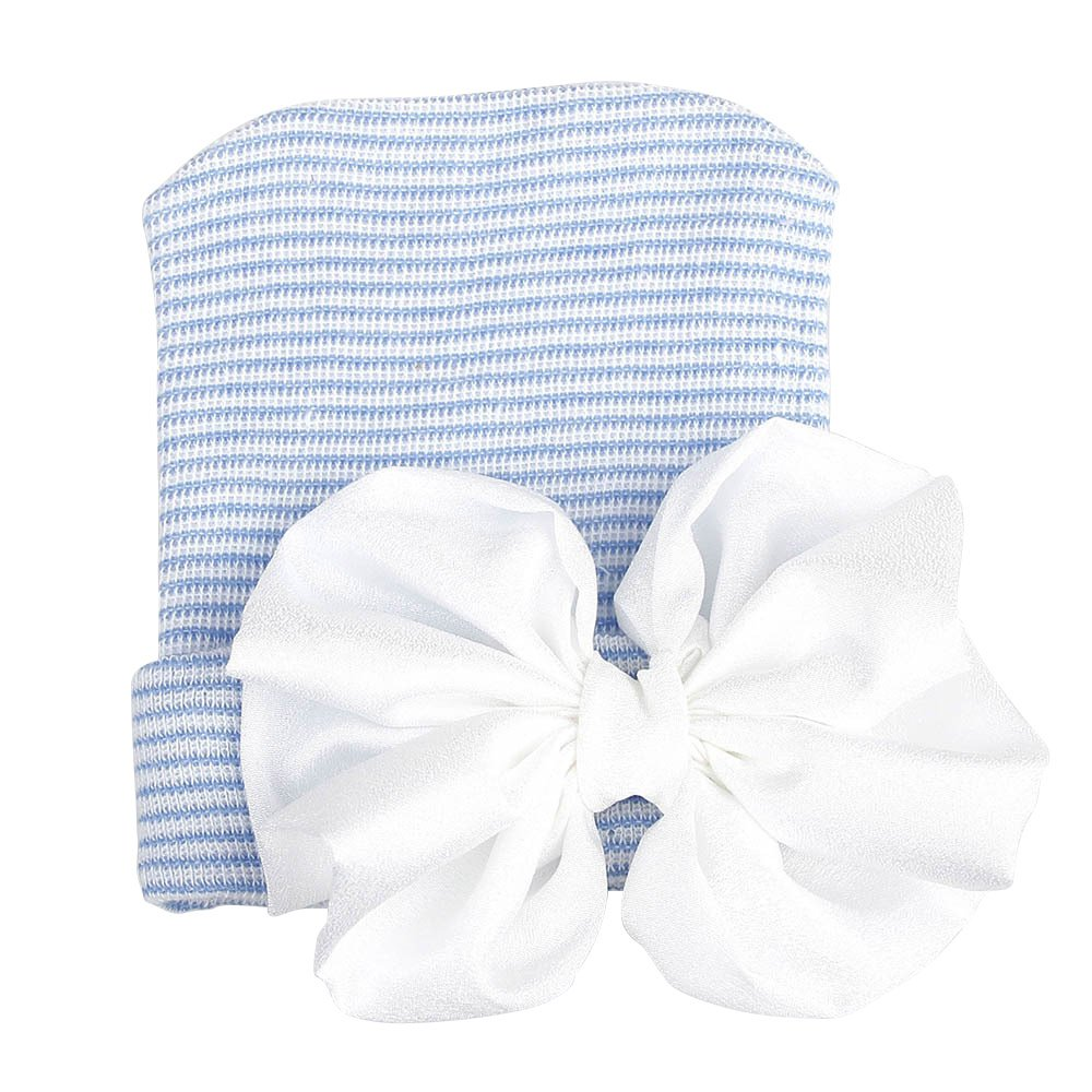 Blue Cap+White Knot ReFaXi Baby Girl Newborn Infant Knitted Soft Hat with Chiffon Bow Tie Cap Striped Shiny