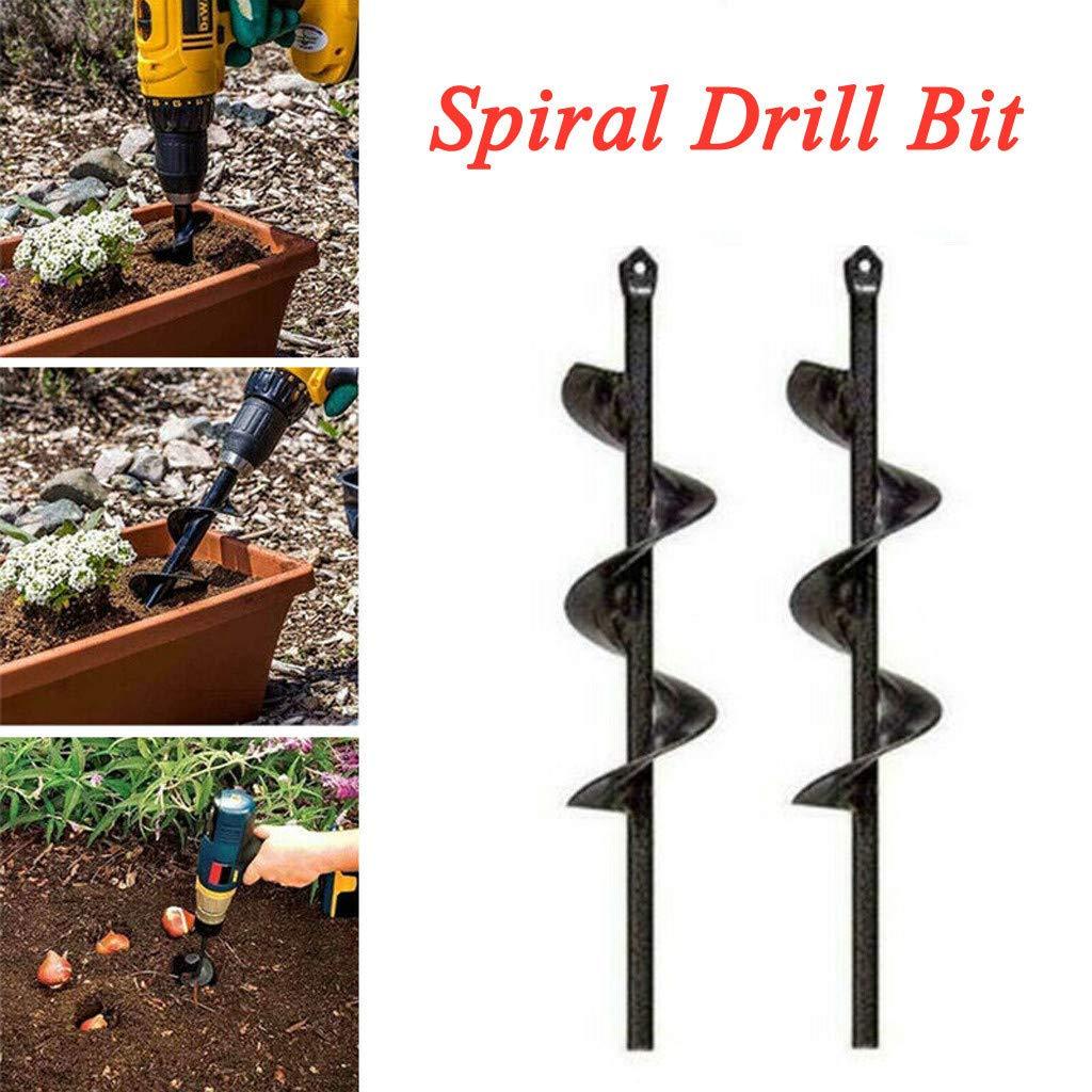 GXOK 2PCS Spiral Drill Bit for Planter Garden, Auger Hole Digger Drill Bit Attachment, Fence Post Hole Digger Drill Bit - Non-Slip Earth Auger Bit, Spiral Drill Bit Planting Hole Digger Drill Bit