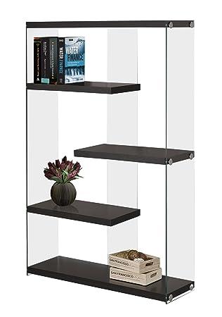 Monarch Specialties I I 3284 Tempered Glass Bookcase, 60 , Cappuccino