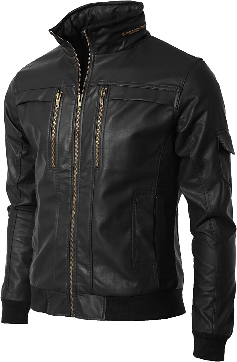 Mens Genuine Cow Leather Jacket Slim Fit Motorcycle Jacket LTC149