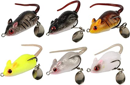 """3.5/"""" 3D Artificial Mouse Lure Floating Hook Rat Fish Bait with Fishing Tackle"""