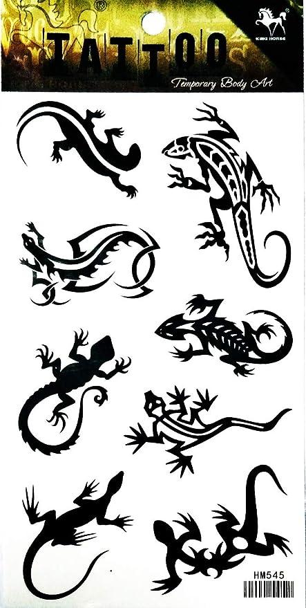 Nipitshop 1 Feuille Noir Lezard Gekko Salamandre Femme Body Tatouage Autocollant Pour Homme Faux Impermeable Tatouage Temporaire Nouveaux Designs Body Amazon Fr Cuisine Maison