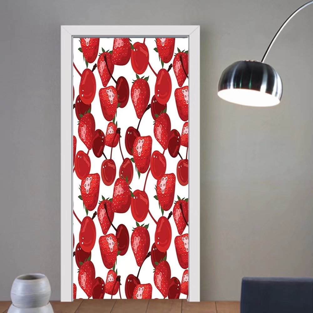 Gzhihine custom made 3d door stickers Red Decor Strawberries Cherries Spring Fruits for Kitchen and Picnic Image Burgundy Green and White For Room Decor 30x79