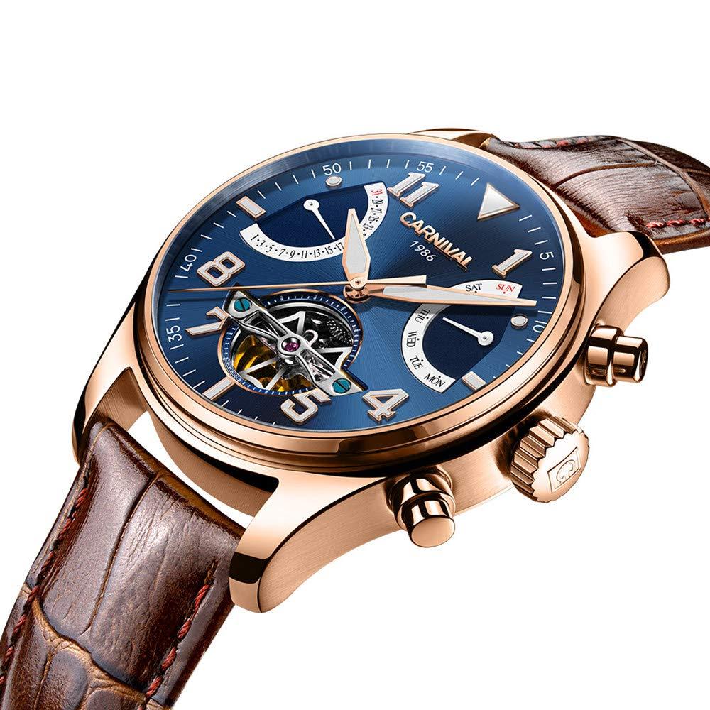 Men s Aviator Series Automatic Self Wind Mechanical Watch Luminous Steel Case Calfskin Band Analog Watch