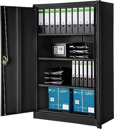 Aktenschrank Büroschrank Metallschrank Abschließbar Lagerschrank Stahl Schwarz
