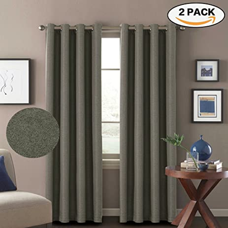 Amazon.com: H.Versailtex Window Treatment Grommet Linen Like ...