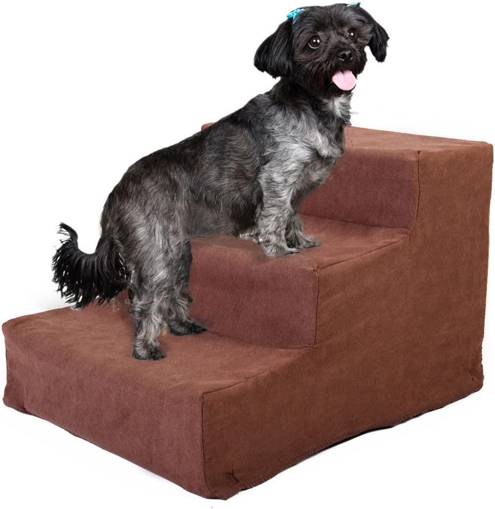 Sandinrayli Coffee Pet Stairs 3 Steps Ramp for Puppies Hold up to 45 lbs