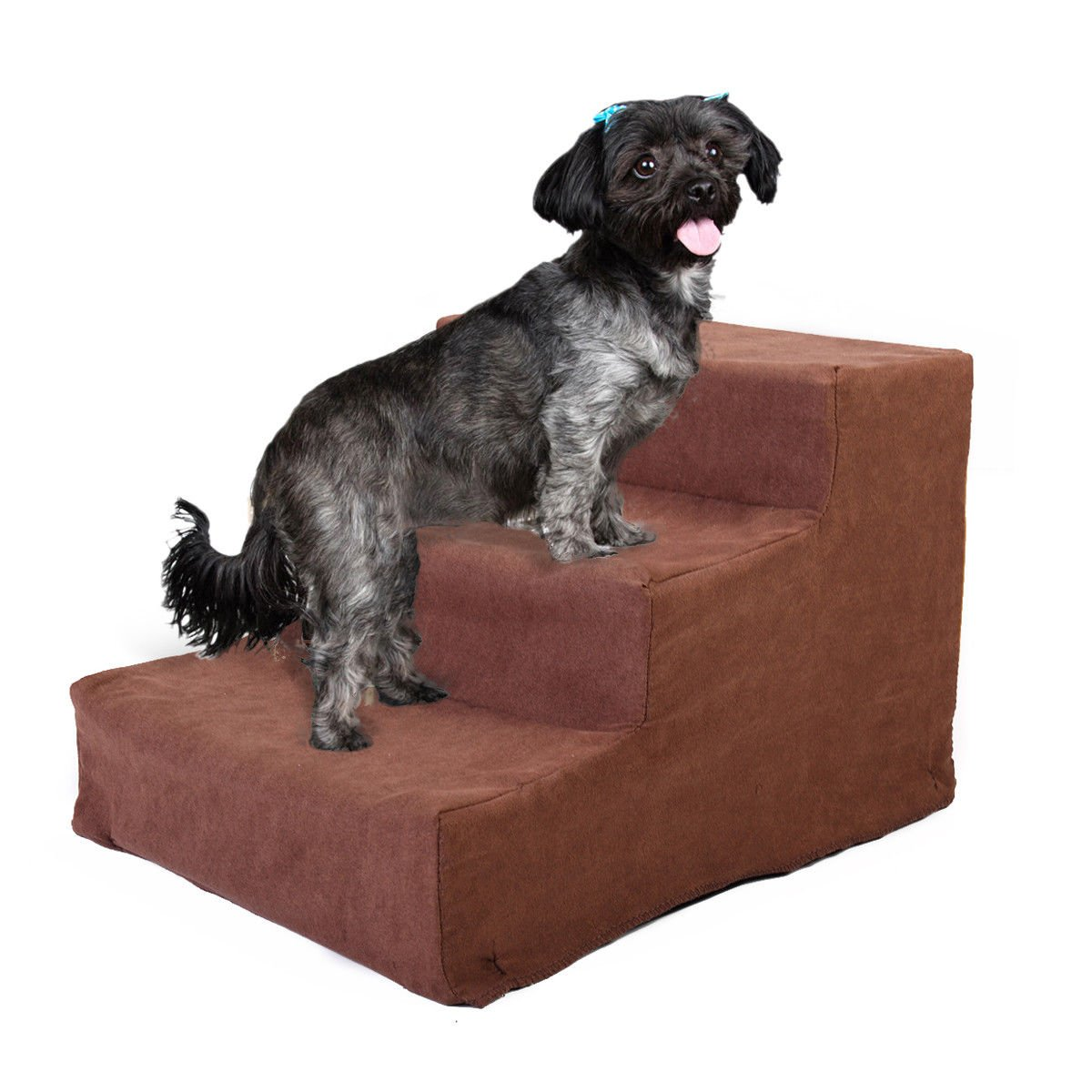 JAXPETY Animals Favorite Pet Stairs, 3 Steps Ramp Ladder for Dogs, Portable, Ladder with Cover Indoor (Coffee)