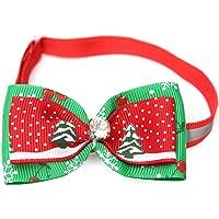 Kungfu Mall Réglable Animaux de Noël Chien Chat Noeud papillon Cravate d'arbre de Noël Collier pour chien Décoration