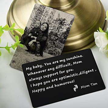 Personalized Photo//Text Custom Engraved Metal Wallet Mini Love Insert Card Gift