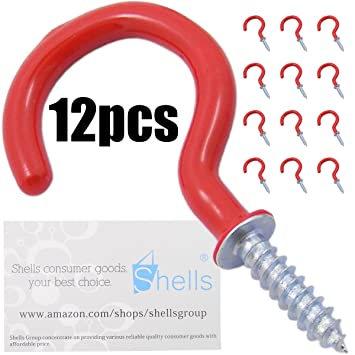 Amazoncom Shells PCS Bright Red Color Inches Vinyl Coated - Vinyl coated cup hooks