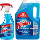 Windex Advanced Glass & Multi Surface Cleaner 946 mL Spray Bottle and 5L Refill Bottle