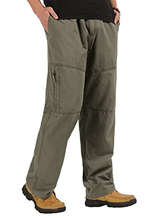 5265441cff CardanWolf Men's Cotton Cargo Pants Big and Tall Relaxed-fit Casual Full  Elastic Waist Work