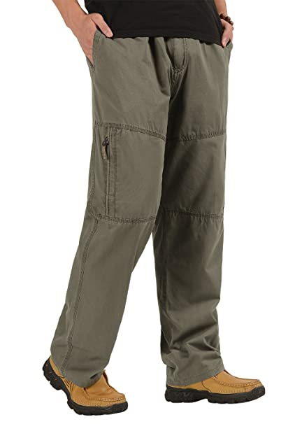 shop for luxury a great variety of models search for genuine CardanWolf Men's Cotton Cargo Pants Big and Tall Relaxed-Fit Casual Full  Elastic Waist Work Pant