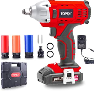 "TOPEX 2IN1 20V Cordless Impact Wrench Driver 1/2"" 1500mAh Li Battery W/Sockets (One Battery)"