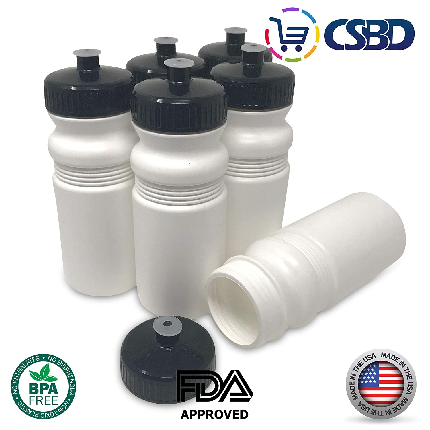 BPA Free HDPE Plastic CSBD Blank 20 oz Sports and Fitness Squeeze Water Bottles Bulk Made in USA 6 Pack